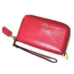 Pink Coach Medium Zip Around Wallet